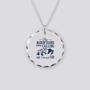 The Mountains Are Calling Necklace Circle Charm