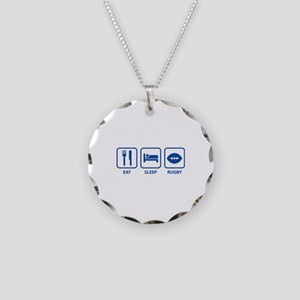 Eat Sleep Rugby Necklace Circle Charm