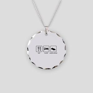 Eat Sleep Bobsledge Necklace Circle Charm