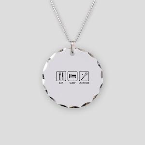 Eat Sleep Lacrosse Necklace Circle Charm