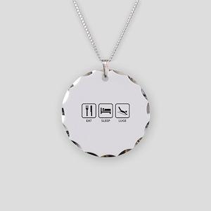 Eat Sleep Luge Necklace Circle Charm