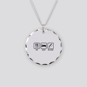 Eat Sleep Ski Jump Necklace Circle Charm