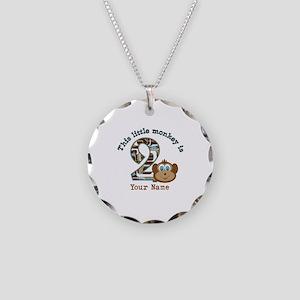 2nd Birthday Monkey Personalized Necklace Circle C