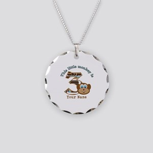 3rd Monkey Birthday Personalized Necklace Circle C