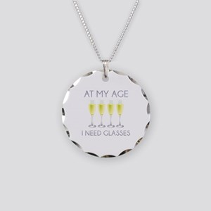 At My Age I Need Glasses Necklace Circle Charm
