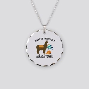Alpaca Towel Necklace Circle Charm