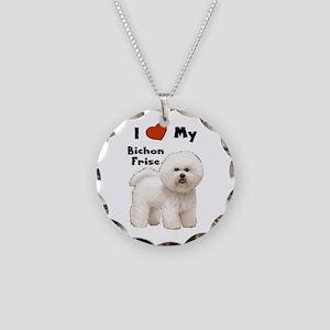 I Love My Bichon Frise Necklace Circle Charm