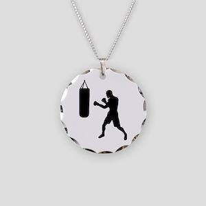 Boxing punching bag Necklace Circle Charm