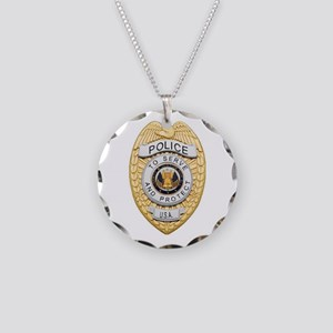 Police Badge Necklace Circle Charm