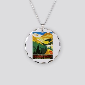 Canada Travel Poster 7 Necklace Circle Charm