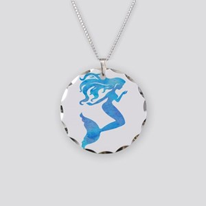 Watercolor Mermaid Necklace Circle Charm