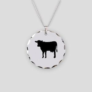 Black cow Necklace Circle Charm