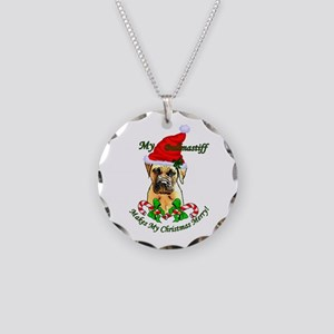 Bullmastiff Christmas Necklace Circle Charm