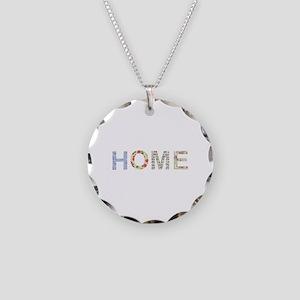 Vintage Floral Home Necklace Circle Charm