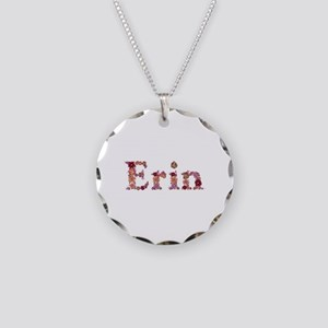 Erin Pink Flowers Necklace Circle Charm