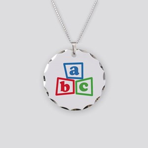 ABC Blocks Necklace Circle Charm