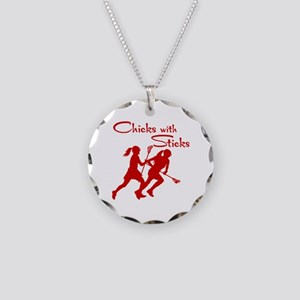 CHICKS WITH STICKS Necklace Circle Charm