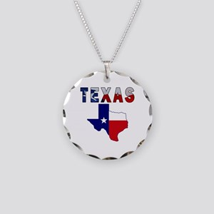 Flag Map With Texas Necklace Circle Charm