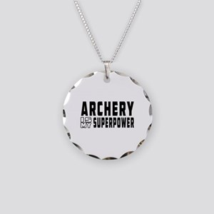 Archery Is My Superpower Necklace Circle Charm