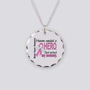 Heaven Needed a Hero Breast Cancer Necklace Circle