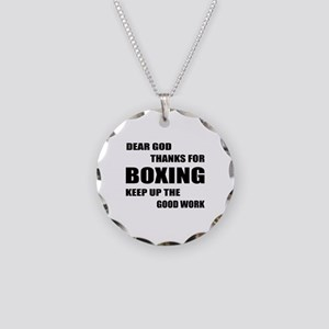 Dear God Thanks For Boxing Necklace Circle Charm