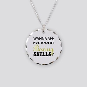 Wanna See Some Boxing Skills Necklace Circle Charm