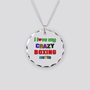 I Love My Crazy Boxing Siste Necklace Circle Charm
