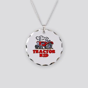 Red Tractor Kid Necklace Circle Charm
