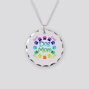 """Dog Mom"" Necklace Circle Charm"