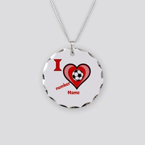 Customizable Soccer Love Necklace Circle Charm