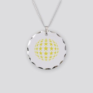 Stars Mirror Ball Necklace Circle Charm