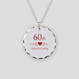 60th Wedding Anniversary Necklace Circle Charm