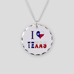 I (Heart) Love Texas Flag Necklace Circle Charm