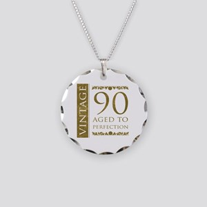 Fancy Vintage 90th Birthday Necklace Circle Charm
