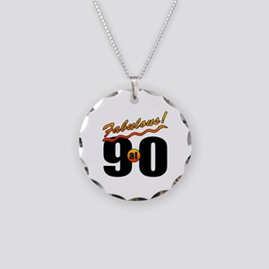 Fabulous At 90 Necklace Circle Charm