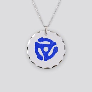 Blue Distressed 45 RPM Adapter Necklace Circle Cha