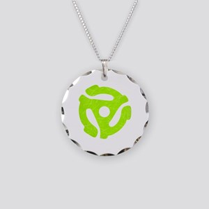 Lime Green Distressed 45 RPM Adapter Necklace Circ