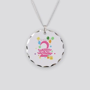 2nd Birthday with Balloons - Necklace Circle Charm