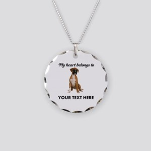 Personalized Boxer Dog Necklace Circle Charm