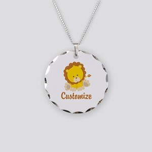 Custom Baby Lion Necklace Circle Charm