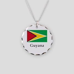 Guyana Flag Necklace Circle Charm