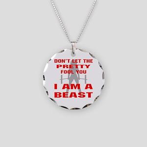 Female I Am A Beast Necklace Circle Charm
