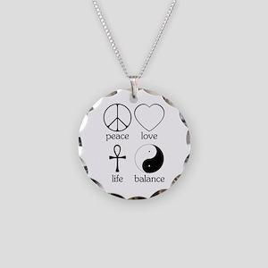 Peace Love Life Balance Necklace Circle Charm