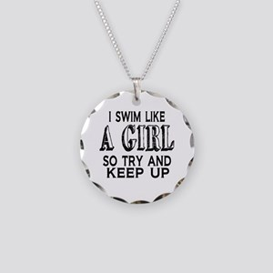Swim Like a Girl Necklace Circle Charm
