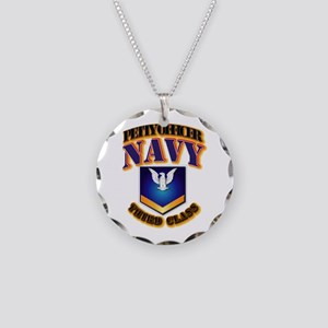 NAVY - PO3 - Gold Necklace Circle Charm