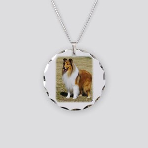Collie Rough AF036D-028 Necklace Circle Charm