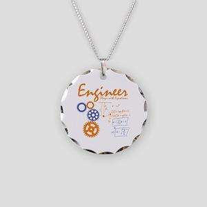 Engineer tshirt Necklace Circle Charm