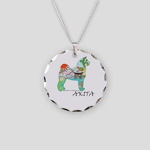 Akita National Treasure Necklace Circle Charm