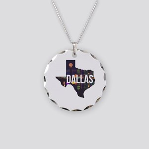 Dallas Texas Silhouette Necklace Circle Charm