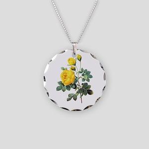 Pierre-Joseph Redoute Rose Necklace Circle Charm